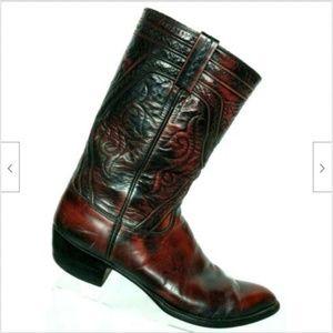 Lucchese Men Black Cherry Leather Cowboy Boots 15D